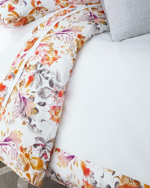 Sferra Full Queen Watercolor Floral Duvet Cover King Bed Linen