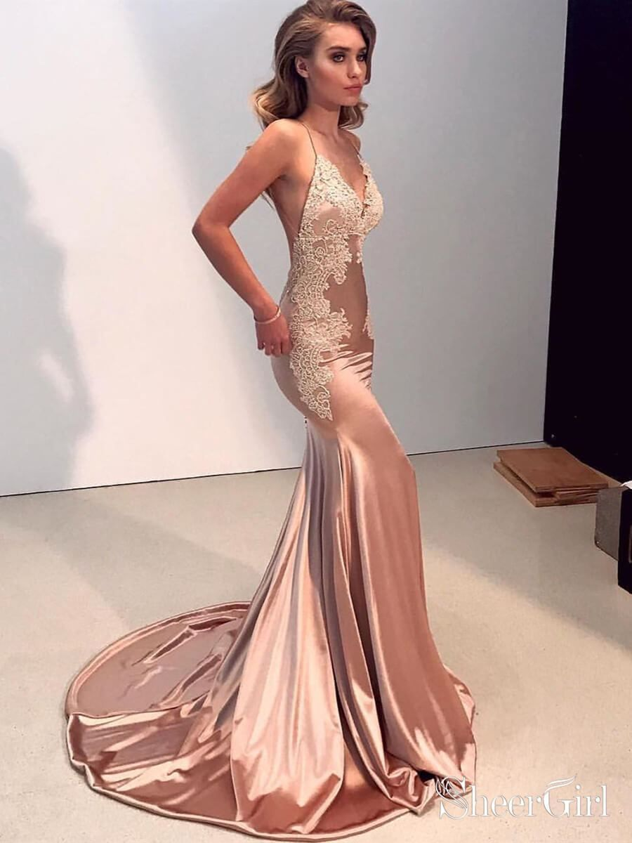 Long sexy mermaid lace prom dresses .Spaghetti strap backless nude trumpet formal  evening dress with court train. 1c9a9a36ec7b