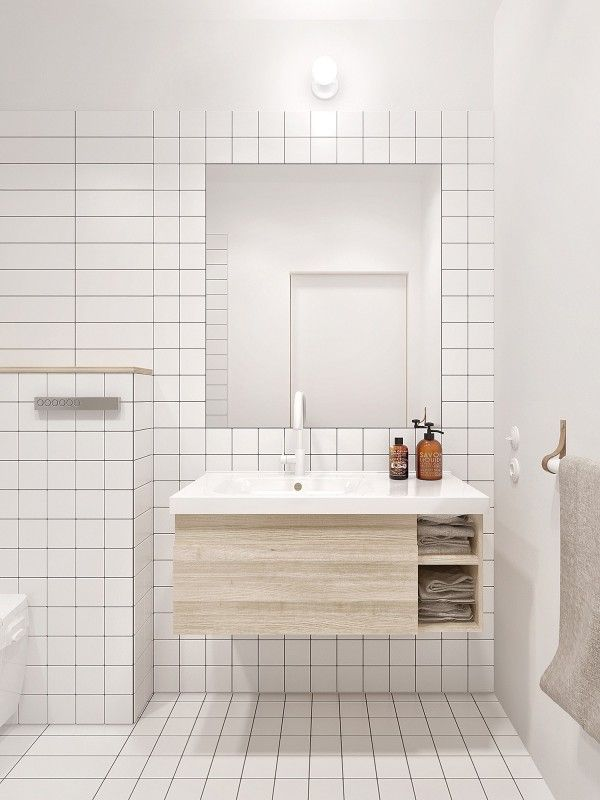 Minimalist Apartment For A Family Of Four White Bathroom Tiles Bathroom Interior Design Minimalist Bathroom Design