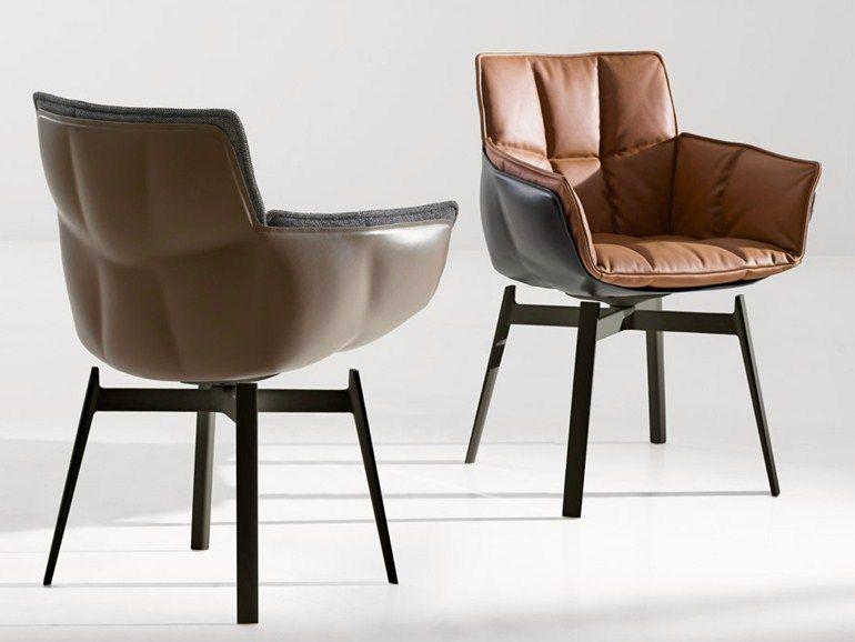 Chaise rembourr e en cuir avec accoudoirs husk chaise en for B et b italia