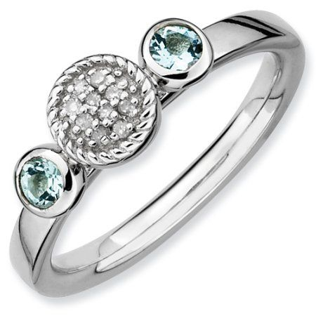 Sterling Silver Stackable Expressions Dbl Round Aquamarine