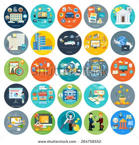 Set of icons of earnings, accounts, transport and market analysis, online business, documents, e-mail, idea, start up, delivery of goods, analysis, meeting, performance, investment, marketing in flat - stock vector