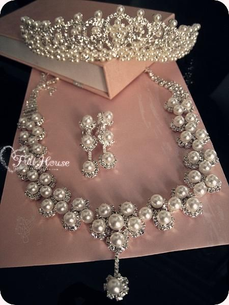 Ivory Pearls 18K Gold Plated Wedding Bridal Jewellery Set use Swarovski Crystals