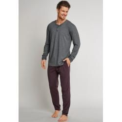 Shirt langarm Knopfleiste dunkelgrau meliert - Mix & Relax Cotton Modal 98Schiesser.com #cottonstyle
