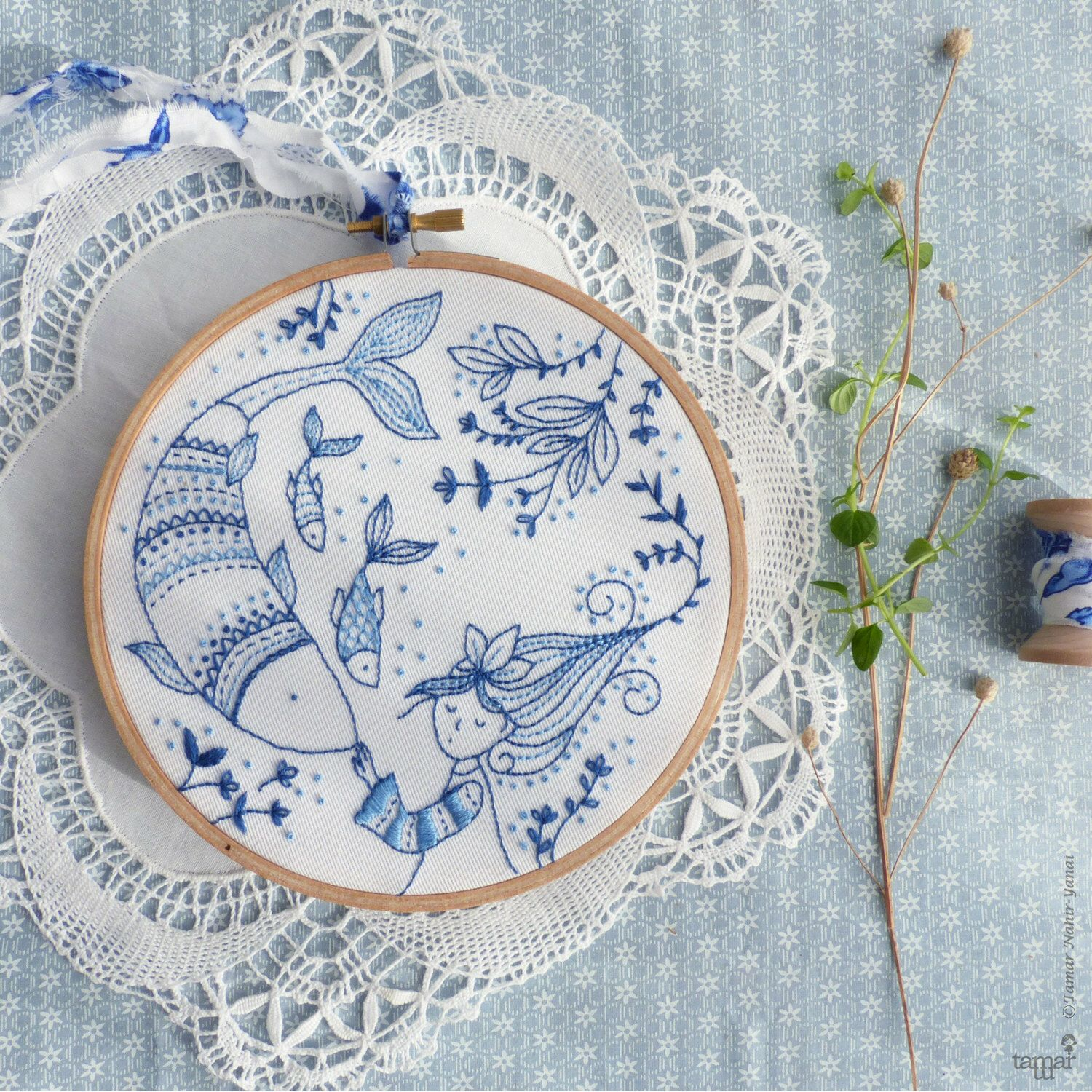 Blue wall art, Sea blue, Hand embroidery - Ocean Princess Embroidery kit - Blue white, Christmas gift, Embroidery hoop art, Christmas craft by TamarNahirYanai on Etsy https://www.etsy.com/uk/listing/266769112/blue-wall-art-sea-blue-hand-embroidery