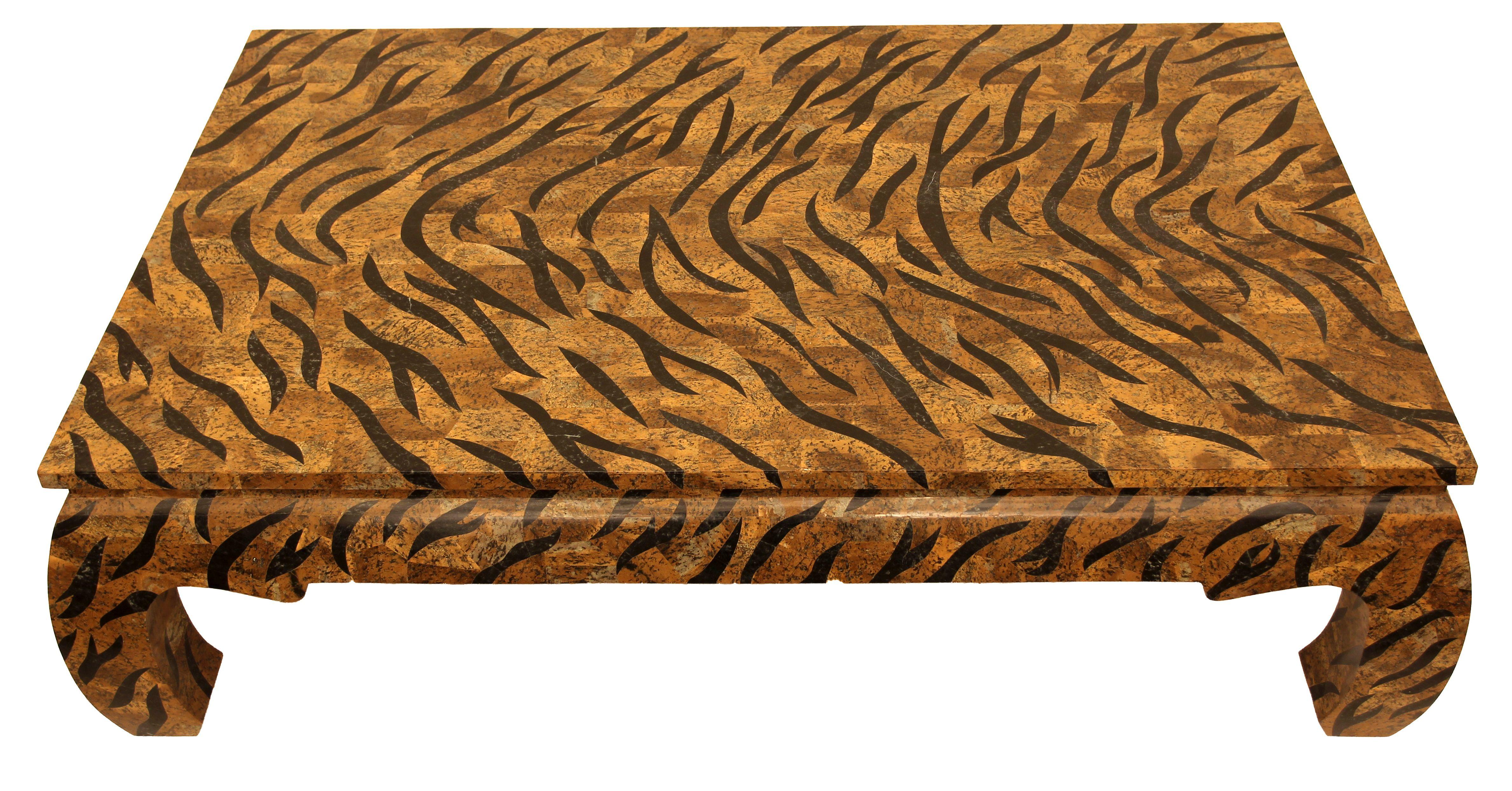 Pfmc200 Tigre Size 150 X 100 H 45 Tavolo Salotto Zebra Su Base Legno Impiallacciato In Pietra Fossile Due Colori Design Mario Conso Fossili Tavoli Fossil