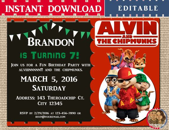 INSTANT DOWNLOAD Alvin And The Chipmunks Birthday By Inkrypticon