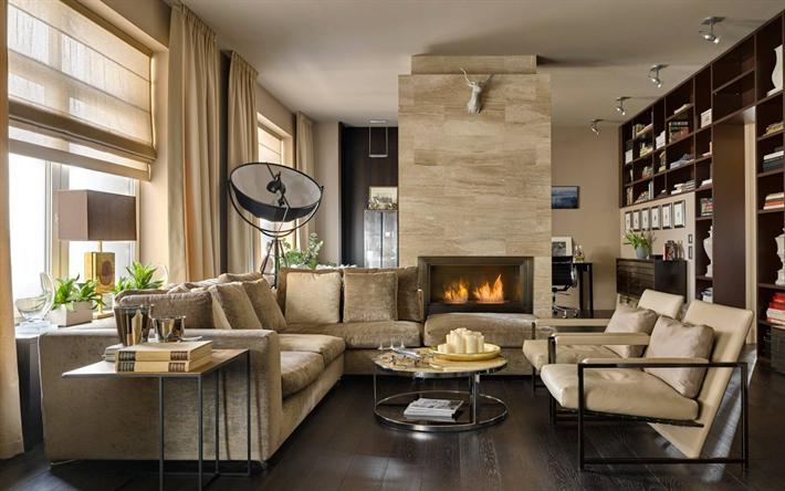 Herunterladen Hintergrundbild Wohnzimmer, Gemütliche Einrichtung, Kamin,  Modernes Design, Beige Töne