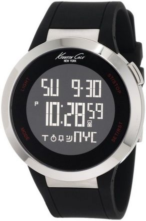 awesome Unisex KC1639 Stainless Steel Watch with Black Polyurethane Band - For Sale Check more at http://shipperscentral.com/wp/product/unisex-kc1639-stainless-steel-watch-with-black-polyurethane-band-for-sale/