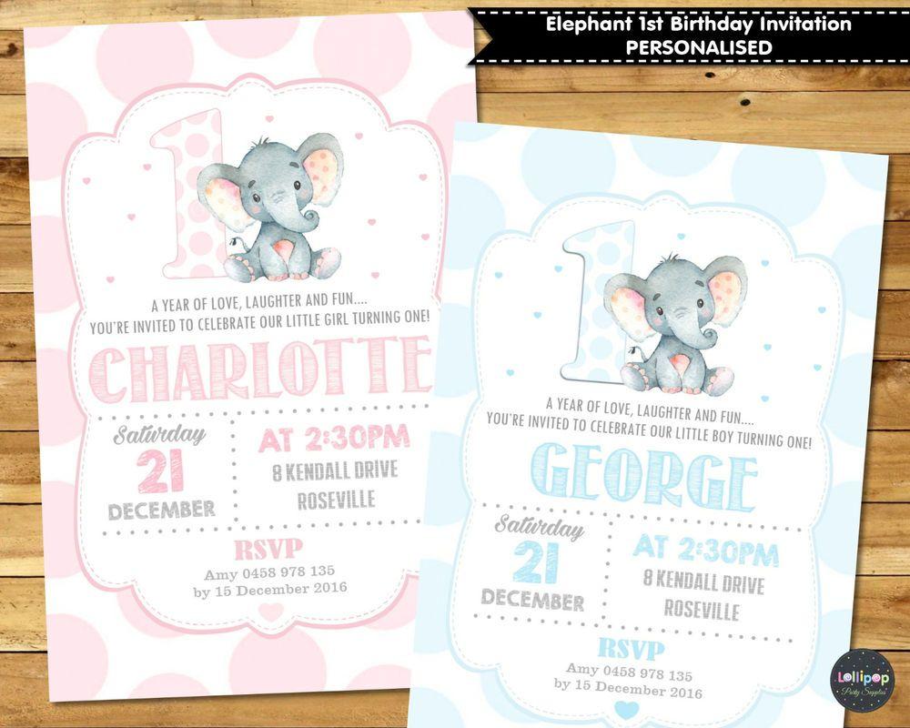 Jungle safari elephant first 1st birthday custom invitation invite ...