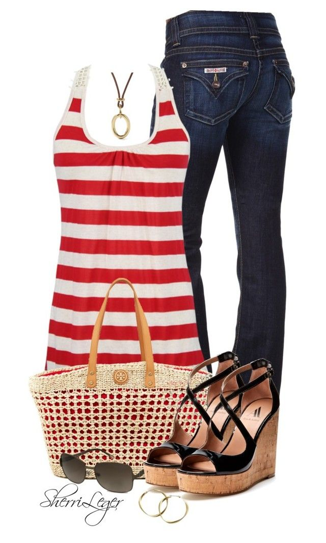 """Untitled #843"" by sherri-leger ❤ liked on Polyvore featuring Hudson Jeans, Tory Burch, FOSSIL, Ava & Aiden and Lia Sophia"