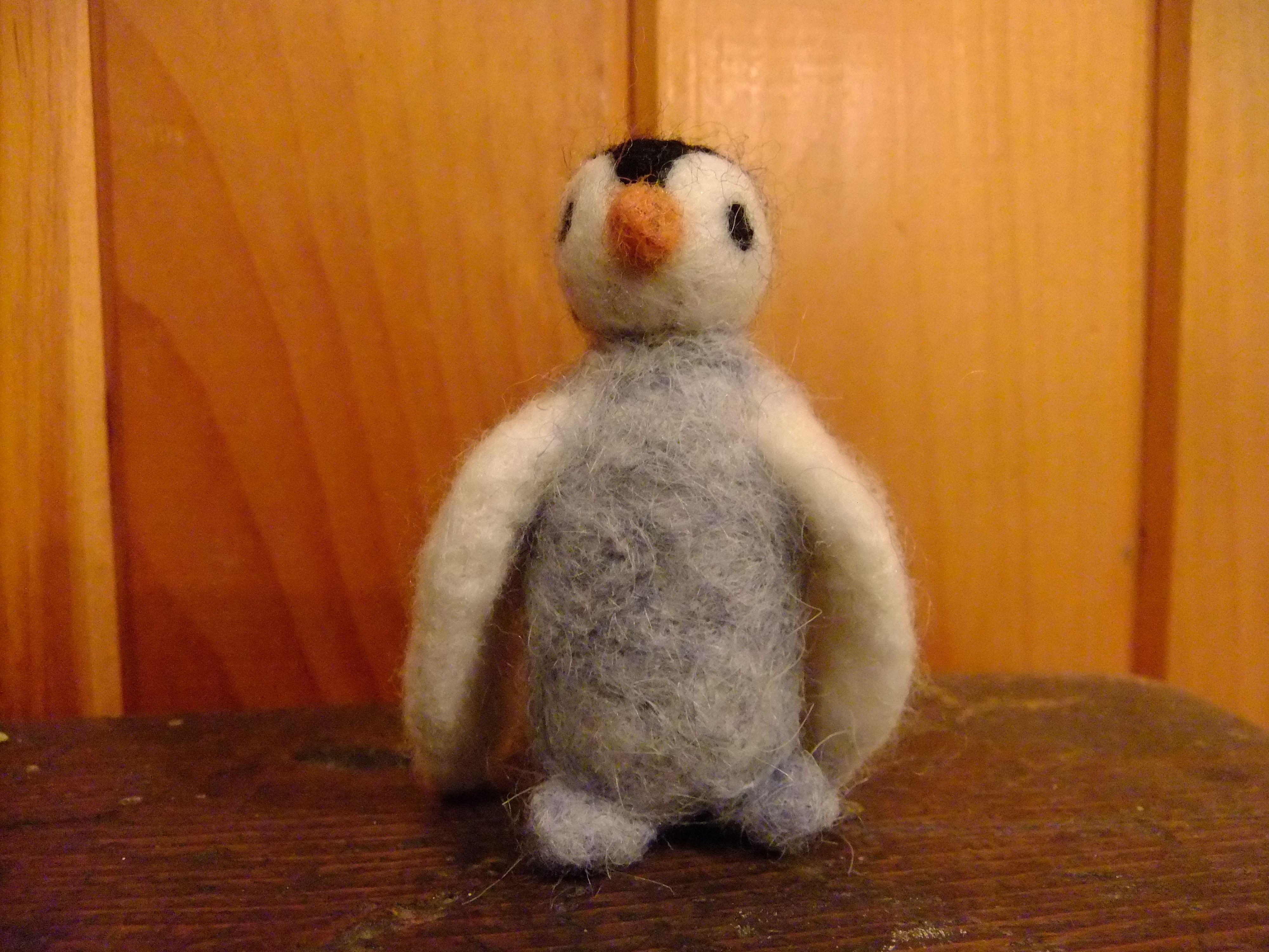 Pingouin en laine feutrée