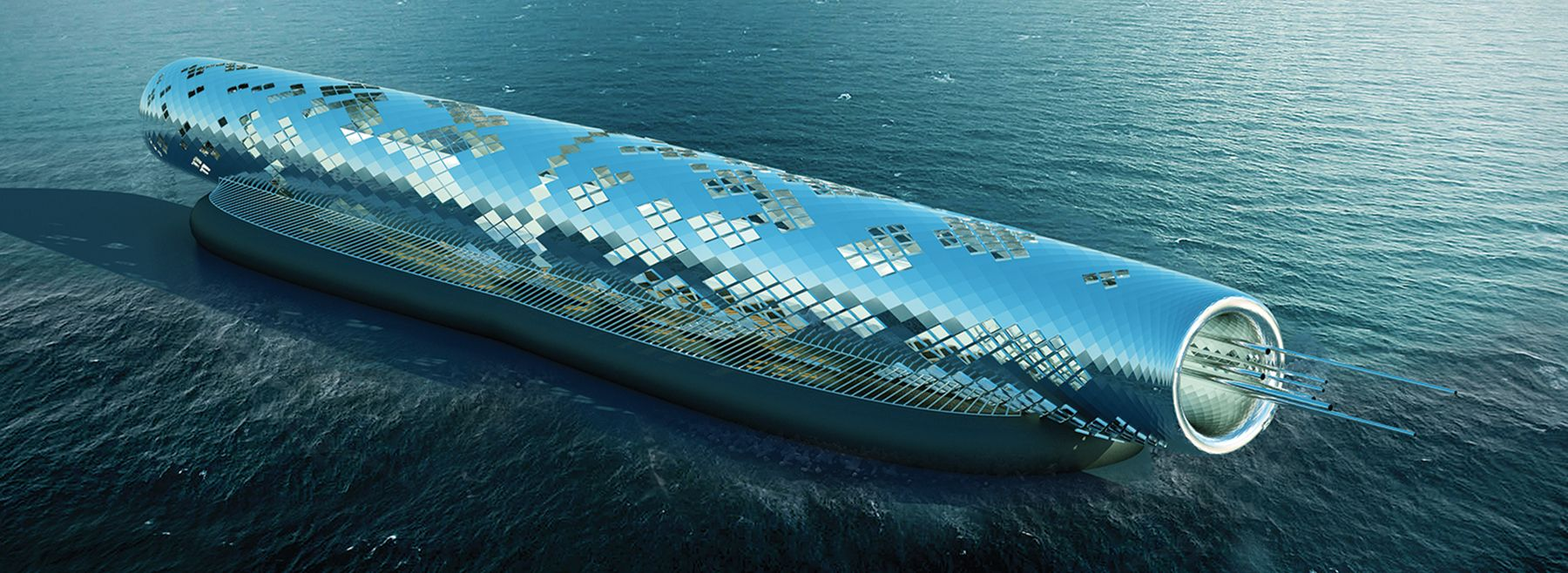 solar-powered 'pipe' sculpture generates 4.5 billion liters of drinkable water from the ocean