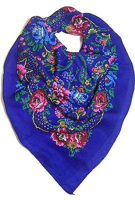 Traditional Polish Folk Head Scarf - Blue