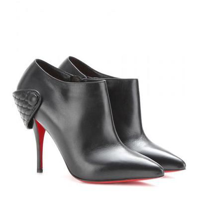 Christian Louboutin - Huguetta 100 leather ankle boots #shoes #christianlouboutin #designer #covetme