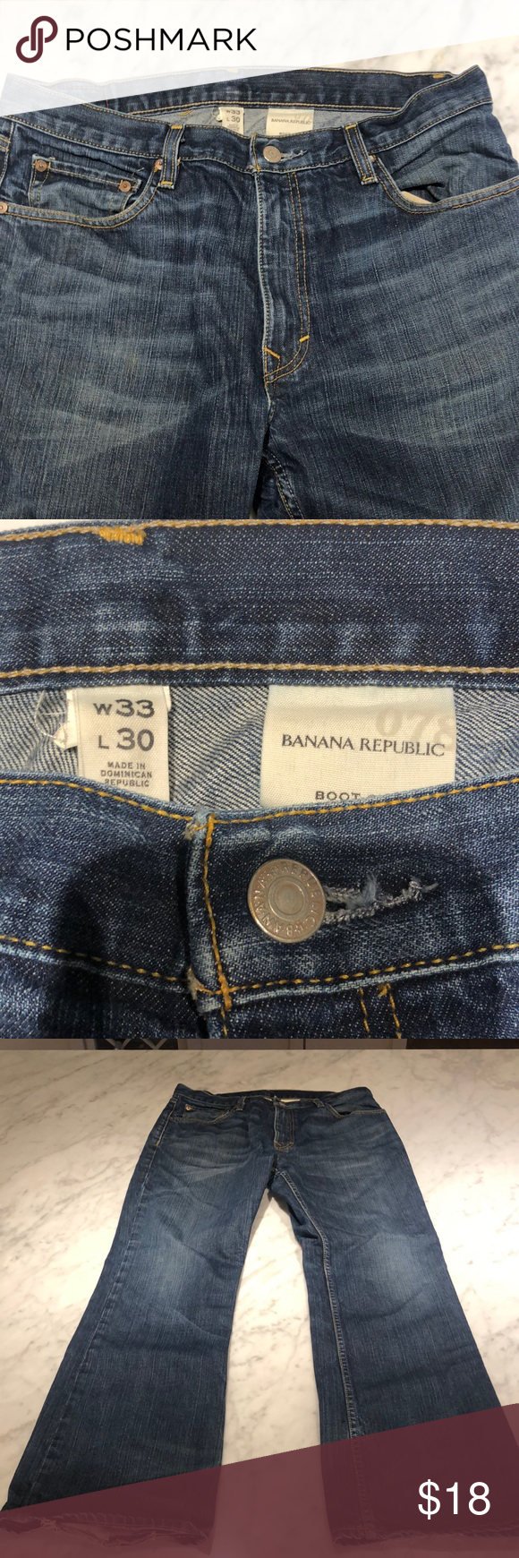 e36858ba7124 Banana Republic Boot Cut Jeans 33x30 Men's Banana Republic Boot Cut Jeans,  dark wash Zip fly. Pant cuffs are distressed. 33x30 Gently used condition  Banana ...