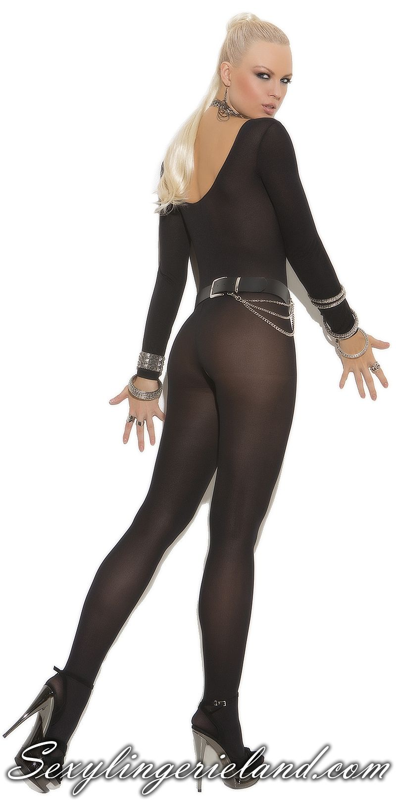 ce883a523 Black crotchless  bodystocking Opaque long sleeve black bodystocking makes  your body hot. Sexy bodystocking
