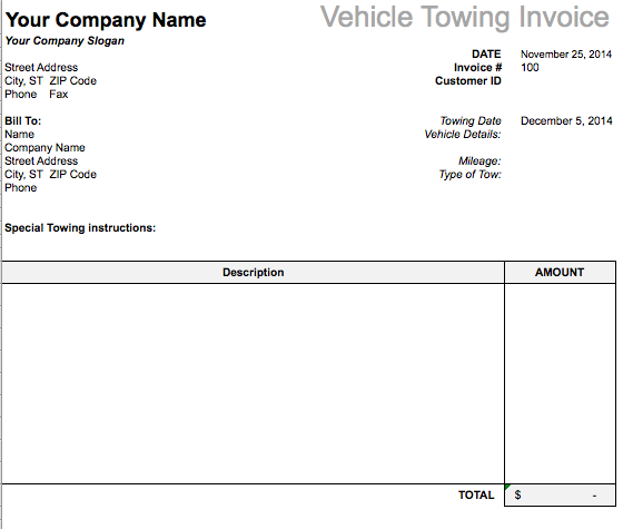 Image Result For Towing Invoice Template Microsoft Excel  Stuff