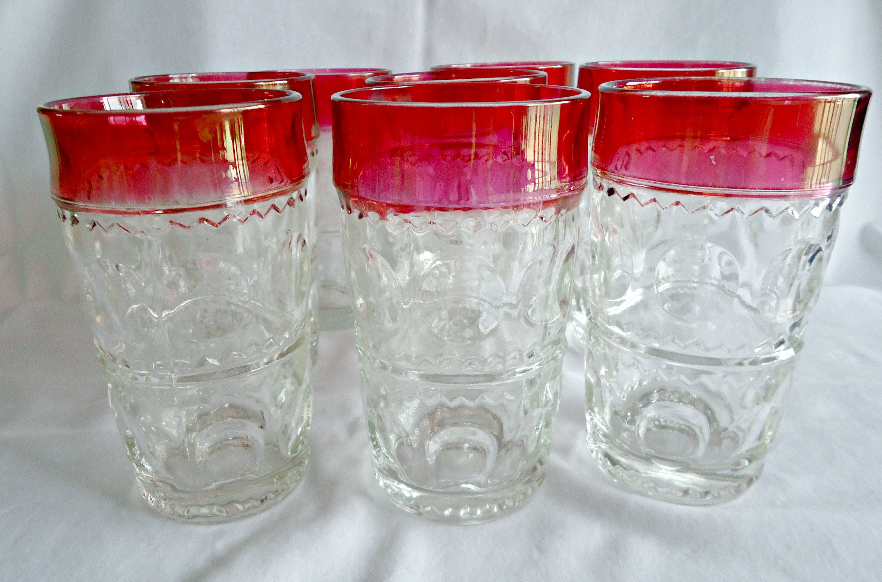 8 Kings Crown Wine Glasses Tumblers Tiffin Thumbprint Drinking Glass Ruby Flash 1960 S By Treasurecoveally On Etsy Indiana Glass Glassware Collection Glass