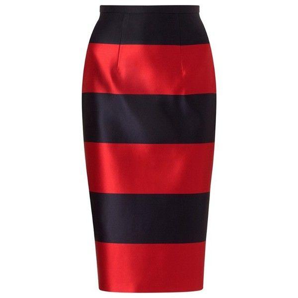 Burberry Duchess Silk Satin Pencil Skirt (€1.045) found on Polyvore featuring women's fashion, skirts, bottoms, saias, burberry, red stripe skirt, kick pleat skirt, knee length pencil skirt, colorblock pencil skirt and block print skirts