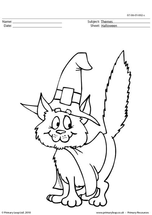 PrimaryLeap.co.uk Halloween colouring picture cat