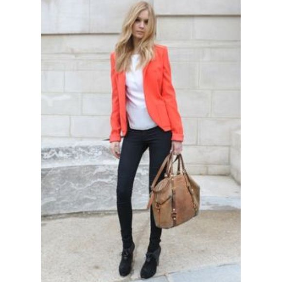 Coral blazer Get the look! Perfect for spring and summer! Beautiful bright coral blazer.  From a boutique.  Size m Jackets & Coats Blazers
