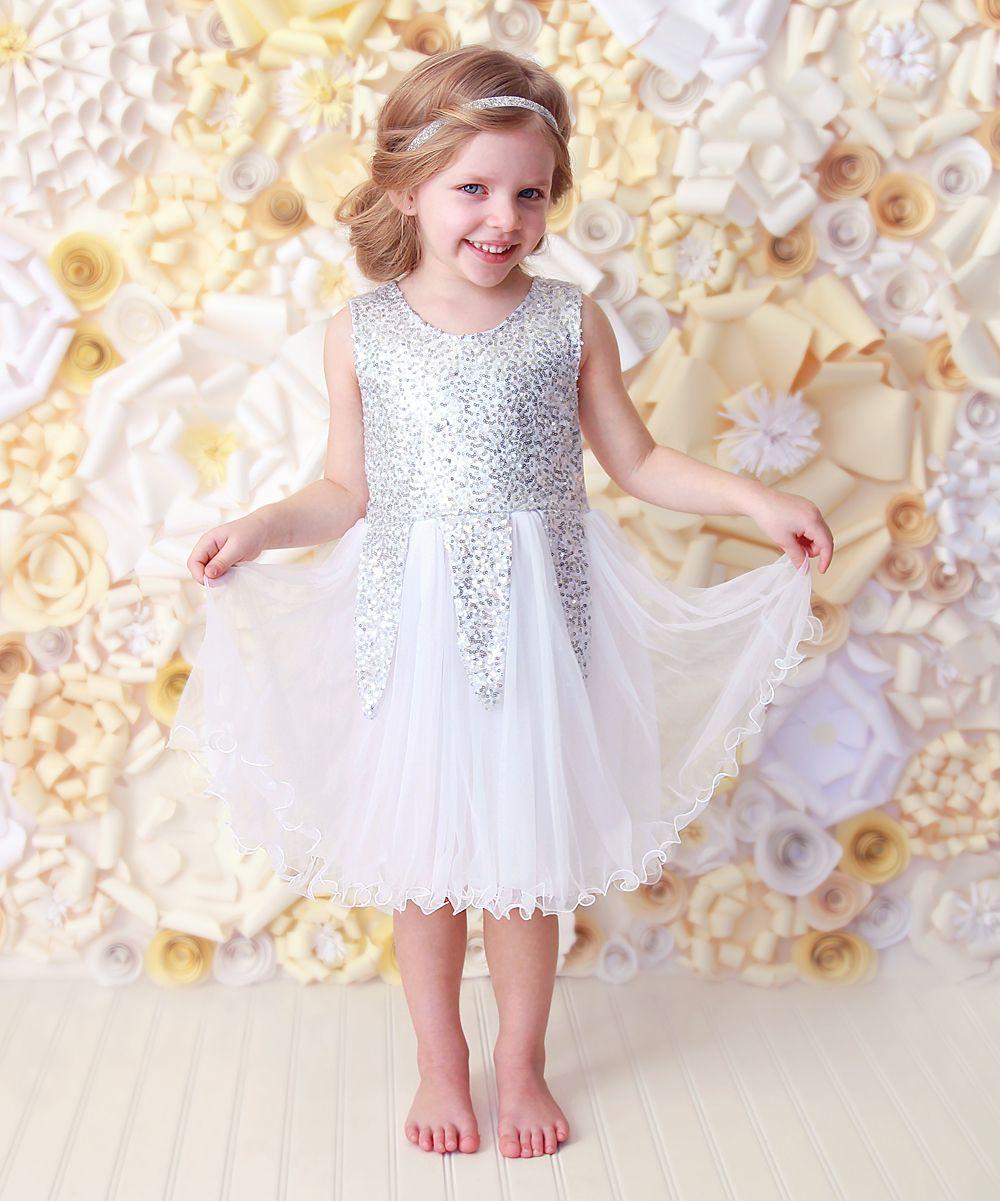 White u silver sequin ruffle dress infant toddler u girls
