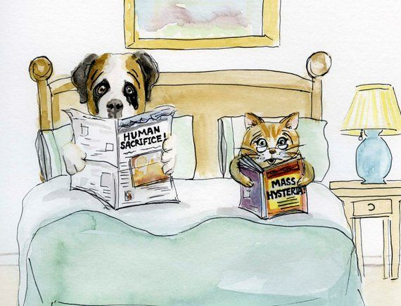 Dogs And Cats Living Together Original Illustration 9x12