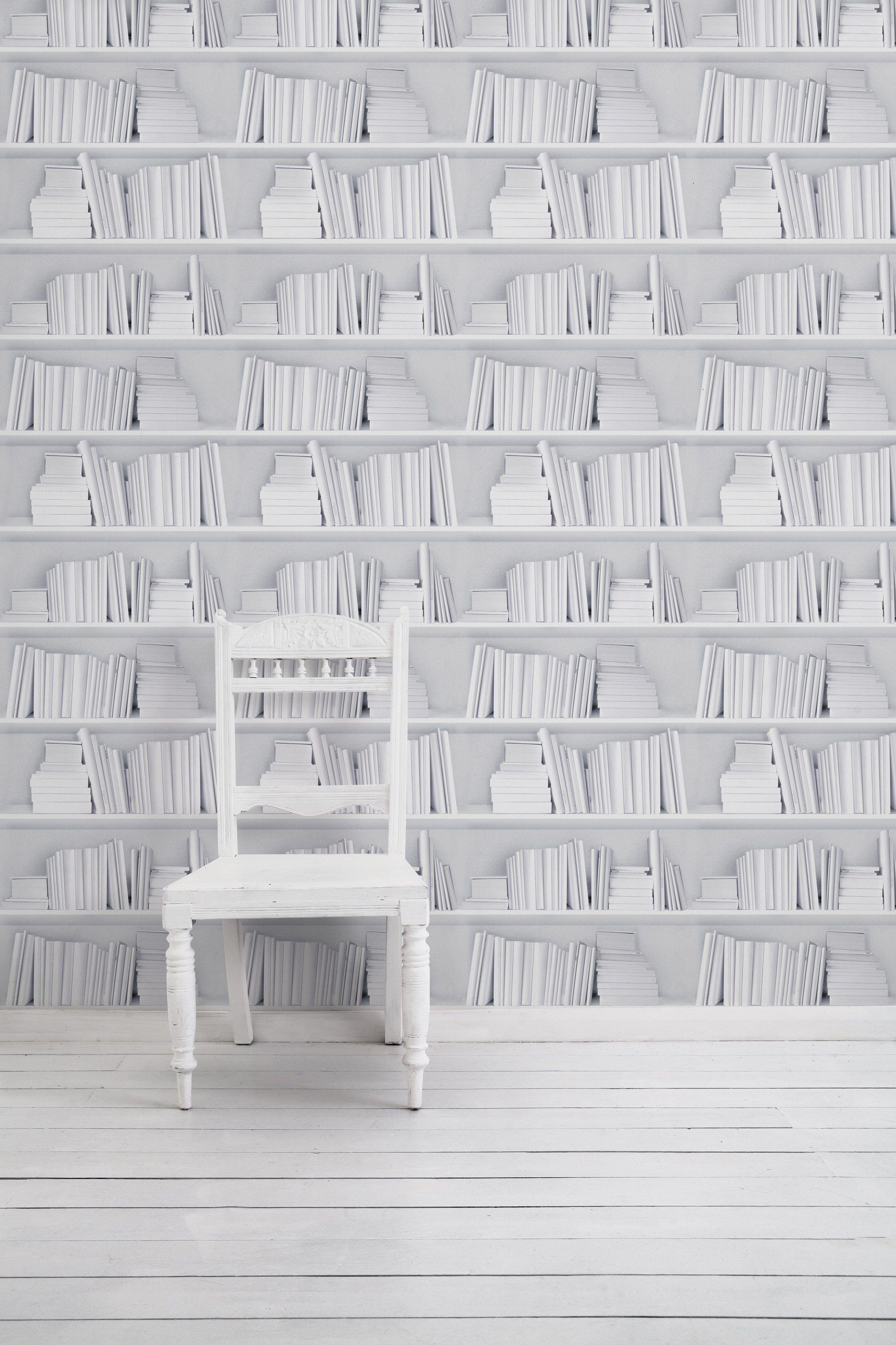 Papel de parede WHITE BOOKSHELF - Mineheart