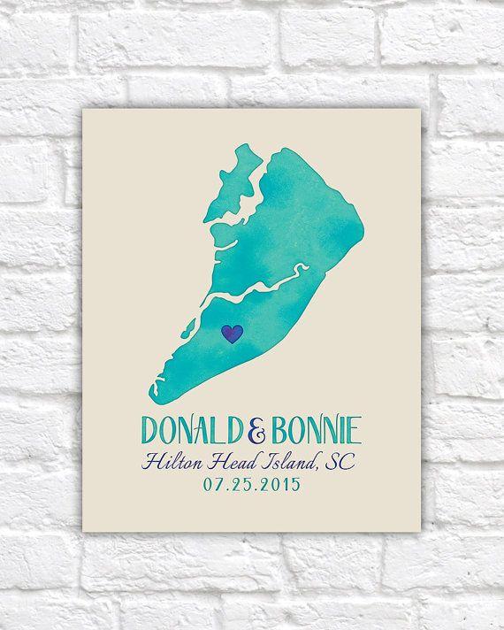 Hilton Head Island Map, South Carolina Wedding, Engagement, Honeymoon Gift, Resort Beach Wedding, SC, Charleston, Wedding by the Sea