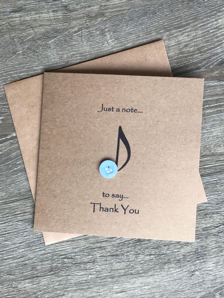 Music Note Button Art Thank You Card Rustic Thank You Card | Etsy