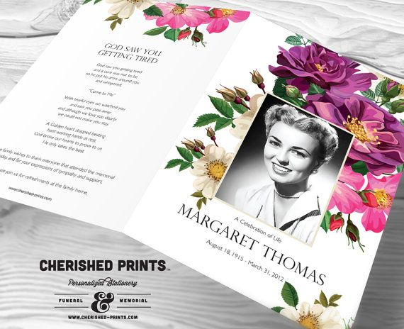 Spring Flowers Funeral Program for Memorials by CherishedPrints - funeral reception invitation