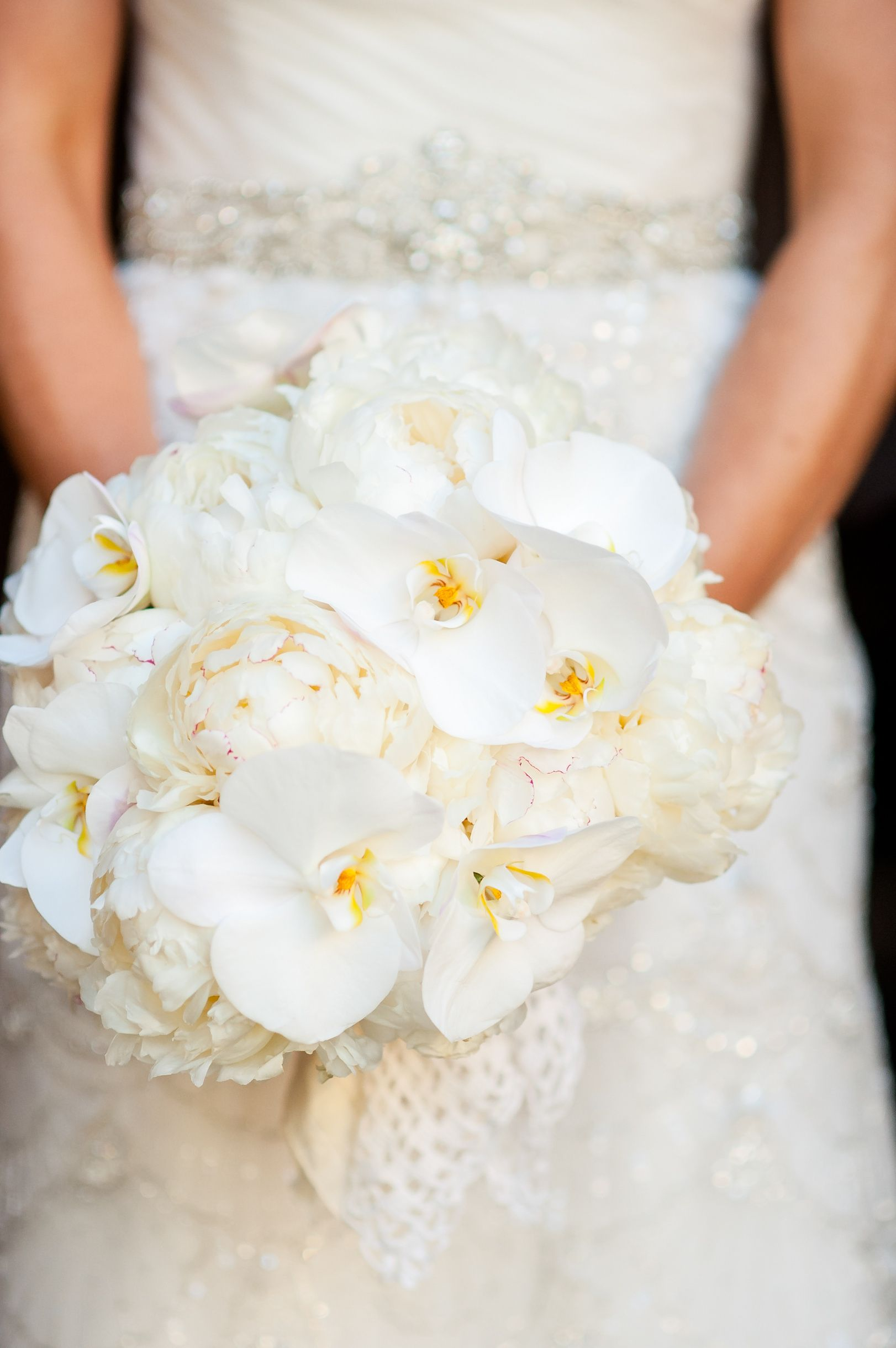Winter White Orchid And Peony Bridal Bouquet White Wedding