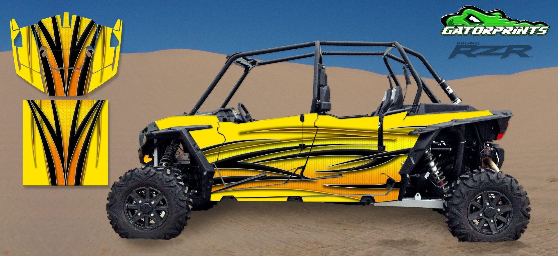 medium resolution of yellow 2014 rzr xp2 1000 custom decal kits 4 seater