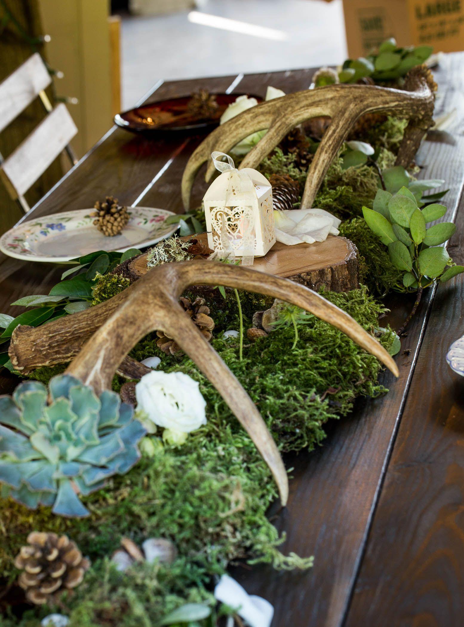 Deer Themed Barn Wedding Antlers Succulents Pine Cones Moss