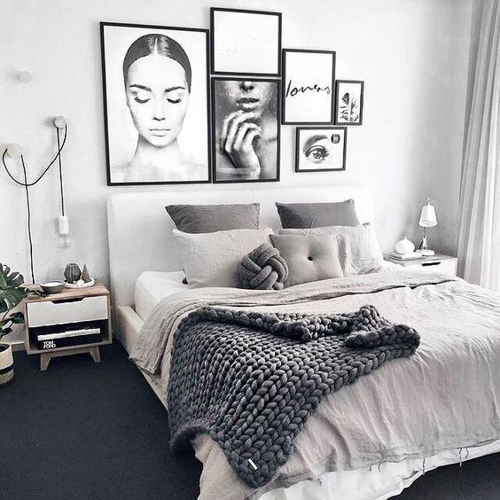 Bright Scandinavian Bedroom With Modern Interior In Grey And White