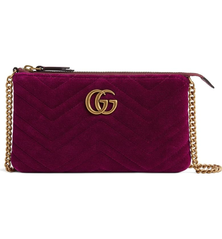 c60018af9 Mini GG Marmont 2.0 Matelassé Velvet Shoulder Bag, Main, color, Fucsia/  Viola