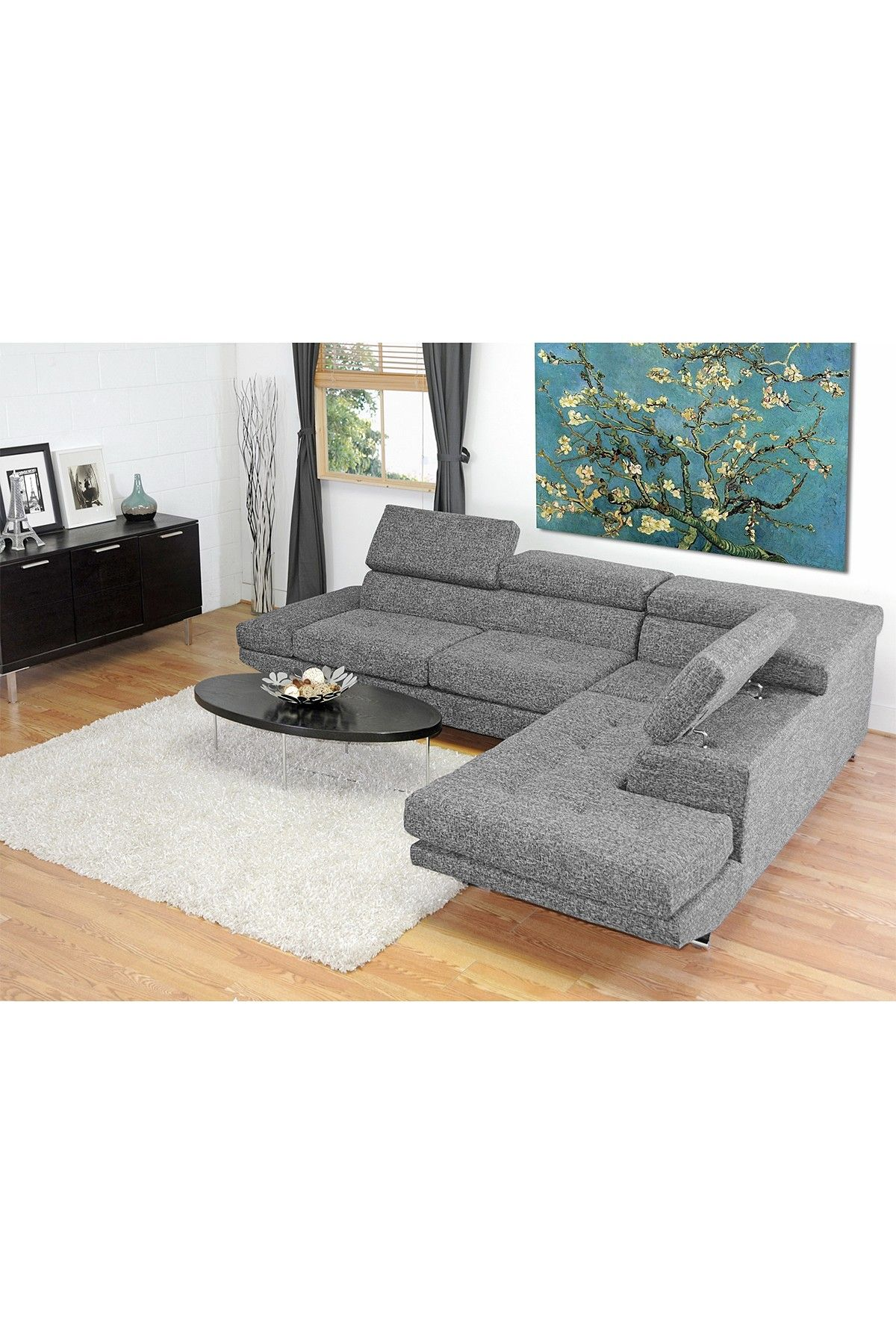 adelaide gray twill fabric modern sectional sofa on hautelook mi rh pinterest co uk