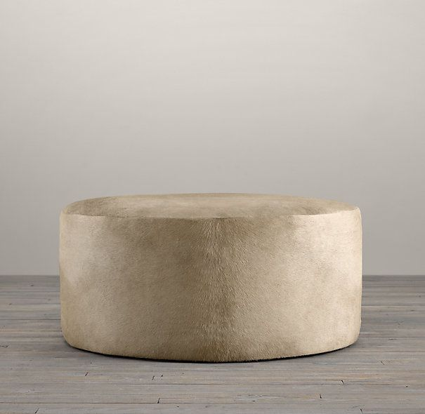 Cooper Hair On Hide Round Ottoman Affordable Finds