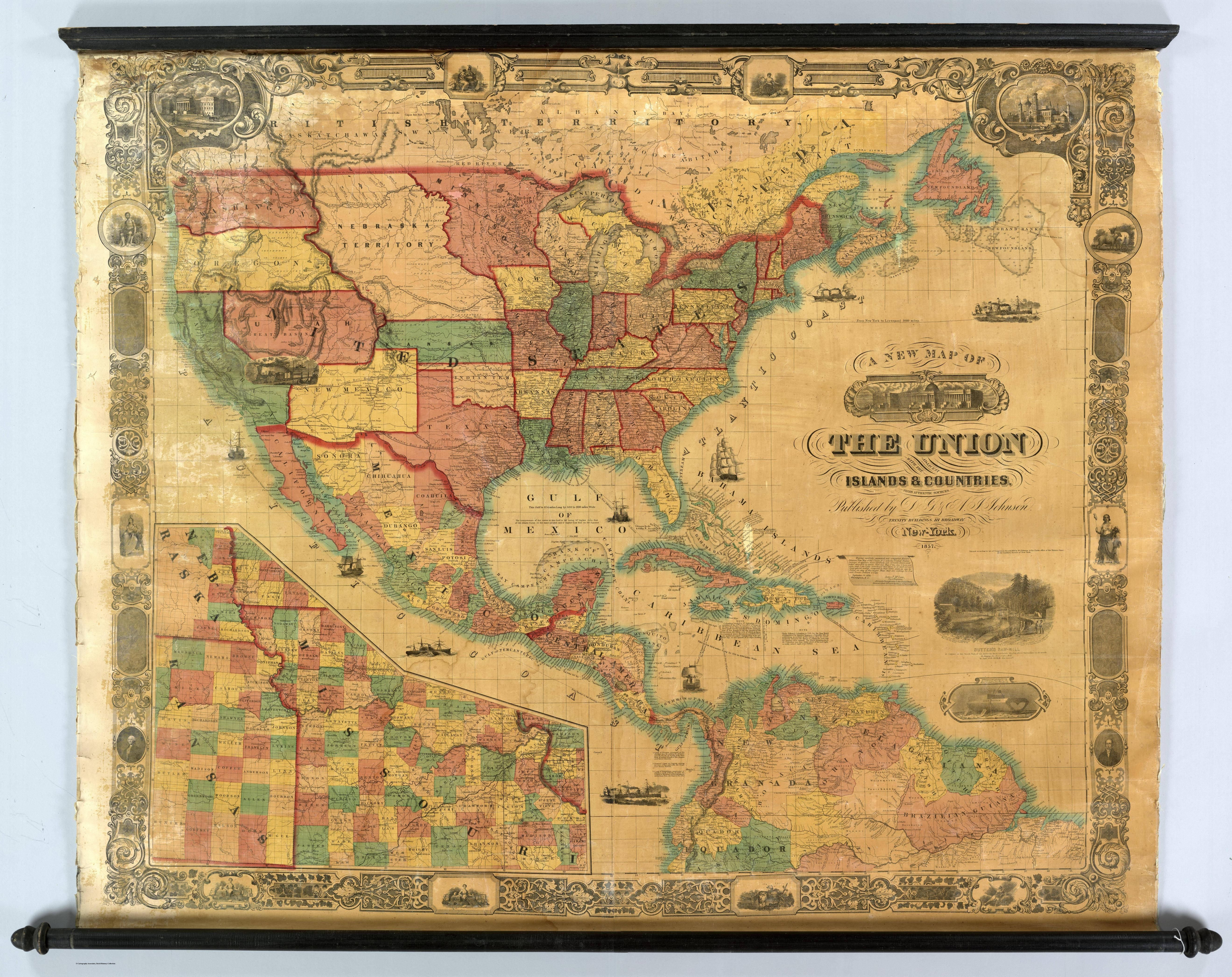 1857 map of the United States Mexico Central America and