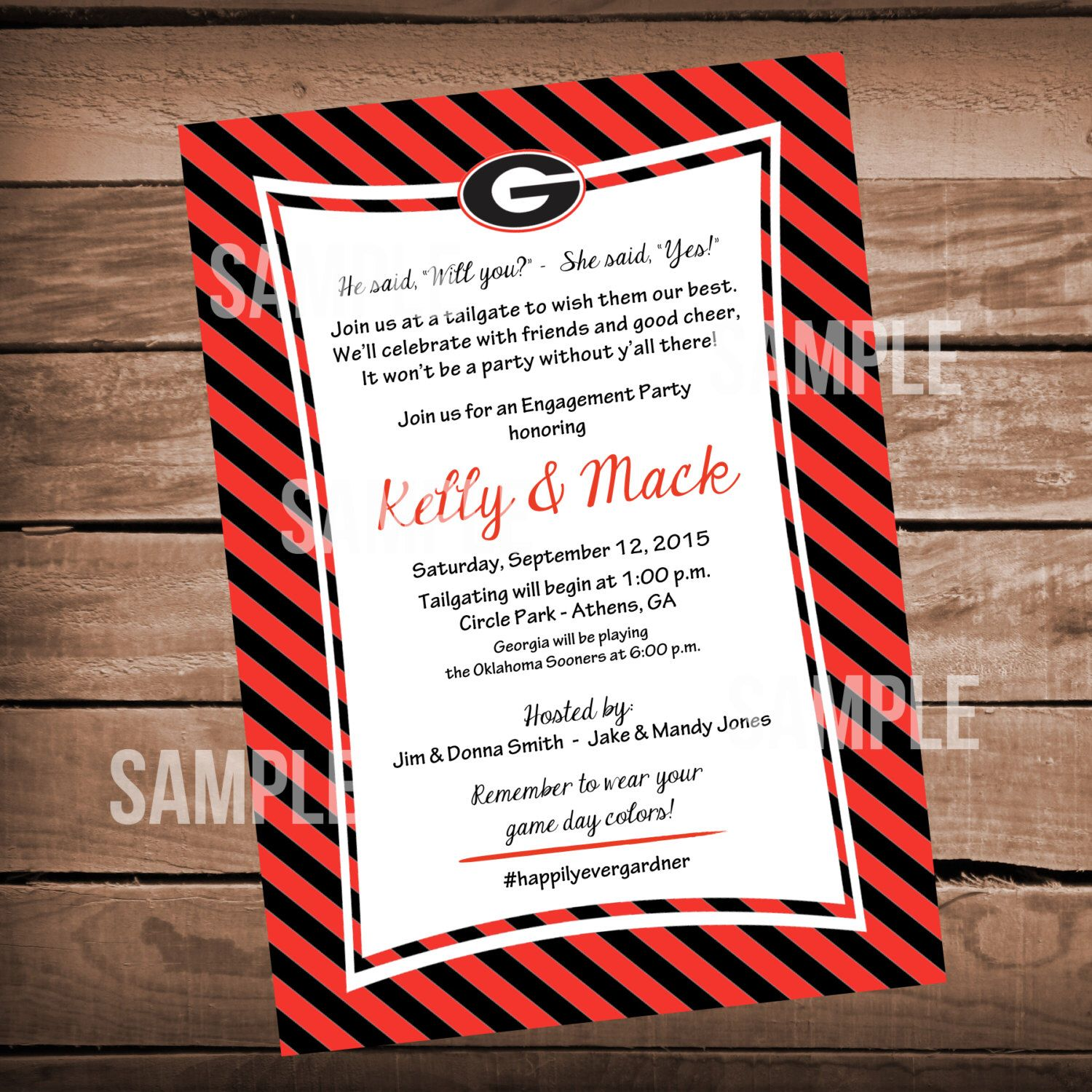 Georgia Bulldog Football Bridal Shower Invitation Tailgate Party ...