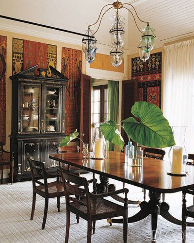 Elle Decor S A List British Colonial Decor Colonial Dining Room Traditional Dining Rooms