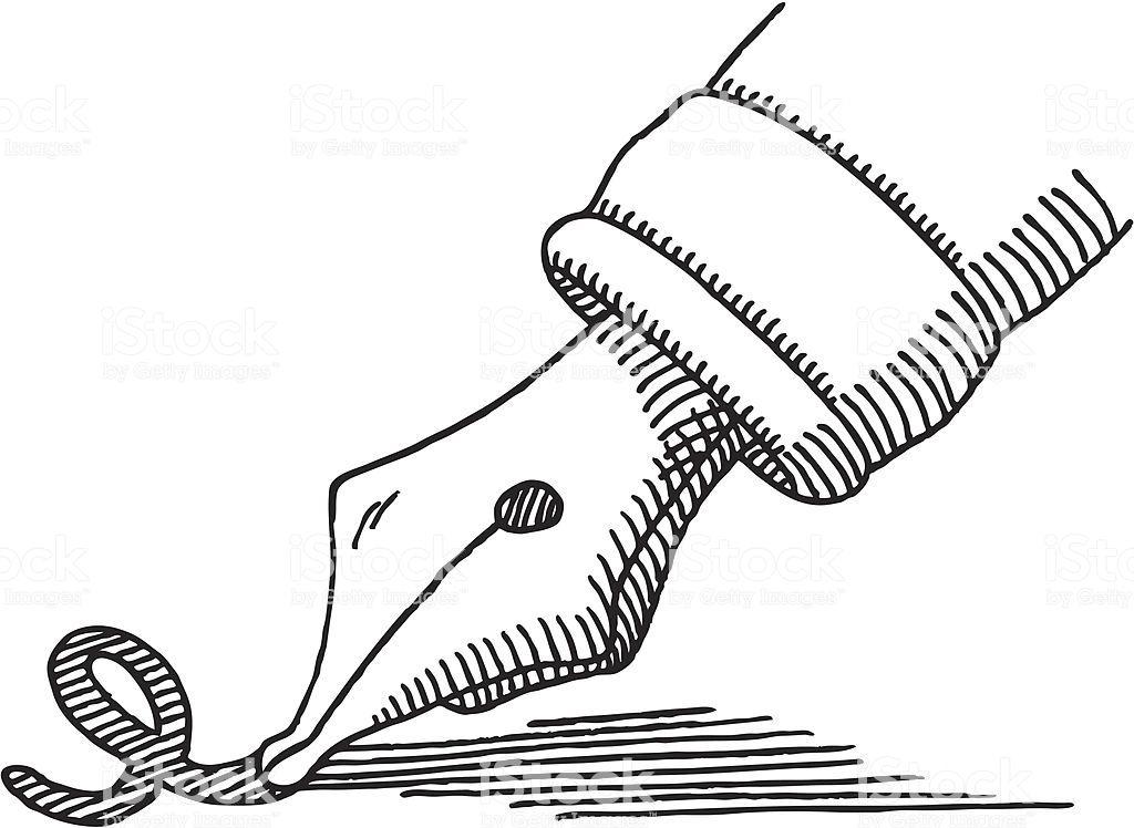 Hand Drawn Vector Sketch Of A Writing Symbol A Fountain Pen Tip Fountain Pen Vector Sketch Free Vector Art