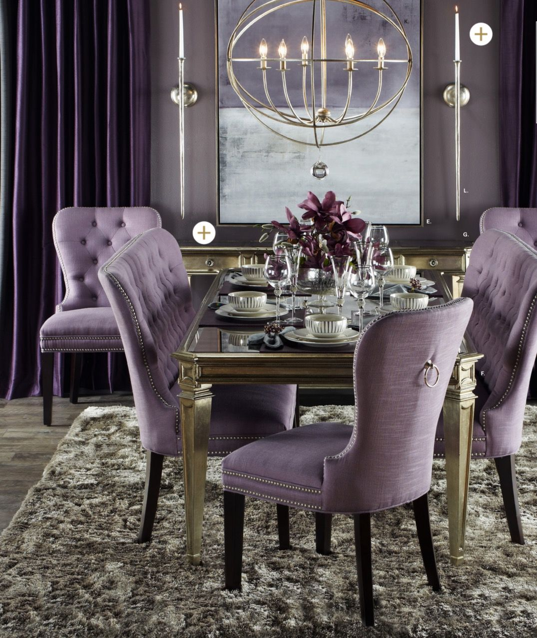 Charming And Cheap Decor Ideas Formal Dining Room: Violet, Grey, And Silver Dining Room