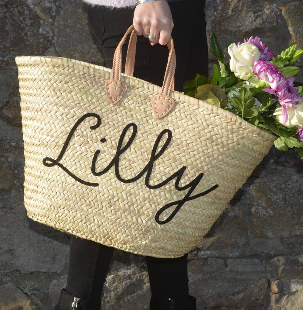 bd6df0aab4396e The perfect basket for shopping or the most impressive beach bag for your  holidays. This item can be personalised with any name and is ...