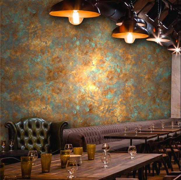 Pas Cher Gros Vintage Industrielle Rouille Main Paninting Affiche Mural Papier Peint Pou Decoration Style Industriel Retro Papier Peint Papier Peint Industriel