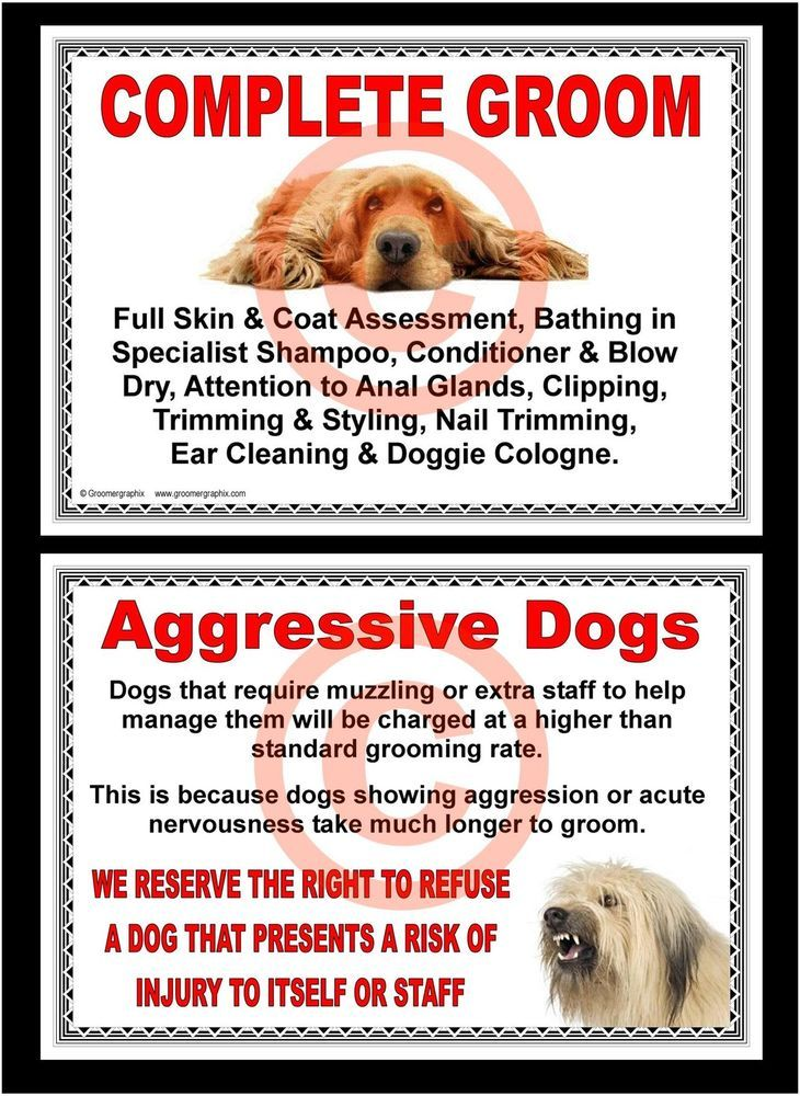 DOG GROOMING COMPLETE GROOM & AGGRESSIVE DOGS SIGNS by