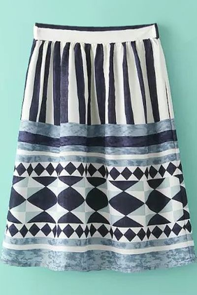 Color Block Stripe Geometric Print Skirt