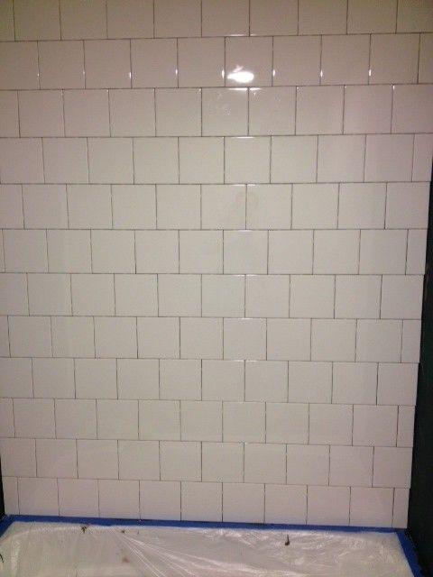 Staggered Six Inch White Shower Tile White Tile Shower White
