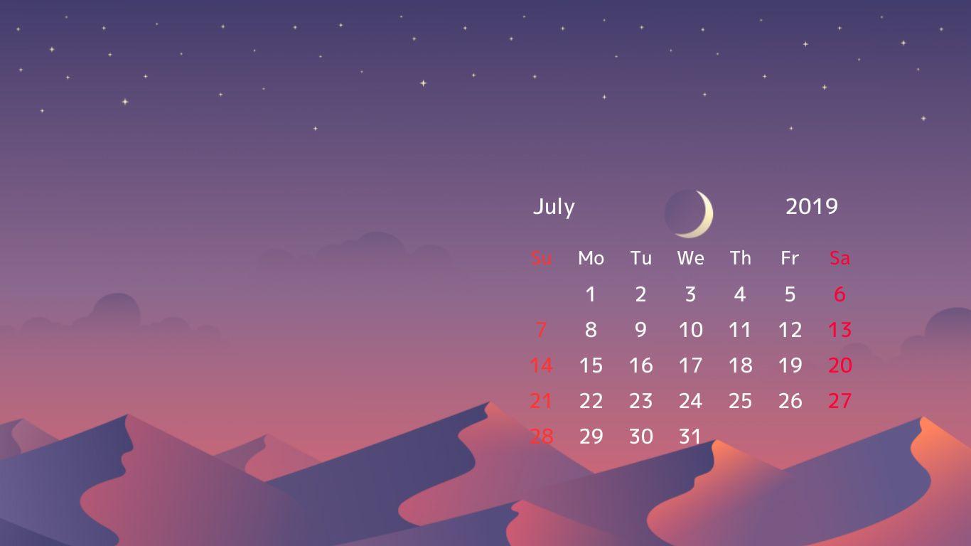 Free July 2019 Wallpaper Calendar Calendar Wallpaper Desktop Wallpaper Calendar Desktop Calendar